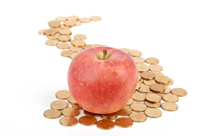 Apple with coins on white background