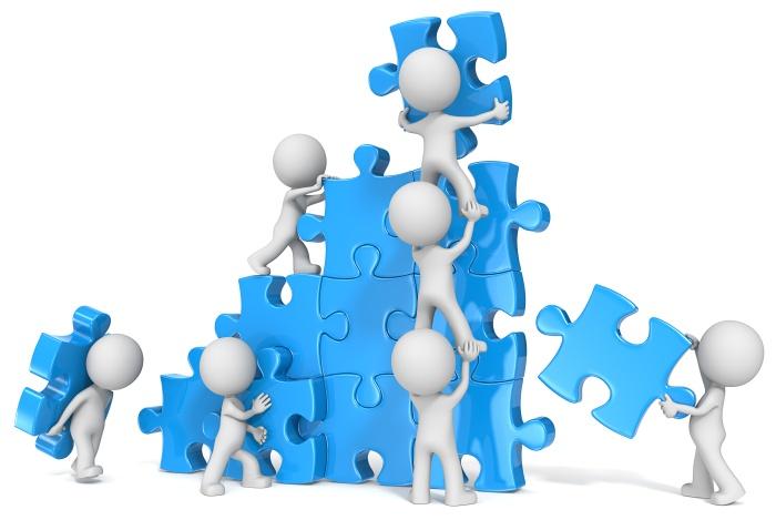Teamwork. The dude x 7 building large puzzle. Blue.